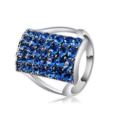 Silver-Plated Rectangle with Blue Crystal Ring