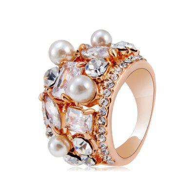Rose Gold Plated Zircon Crystal Imitation Pearl Rose Ring