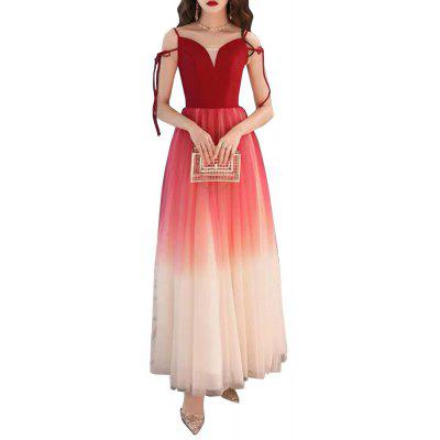 Elegant Mesh Sling Evening Dress