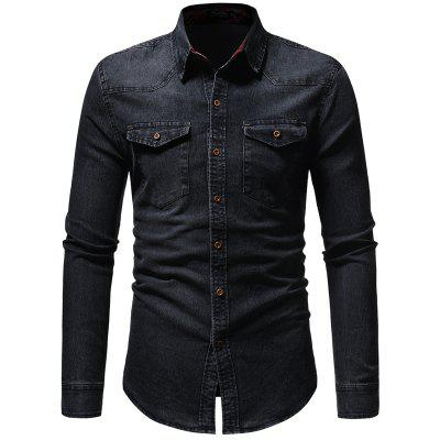 2019 Washed Lined Plaid Men's Casual Slim Denim Long Sleeve Shirt