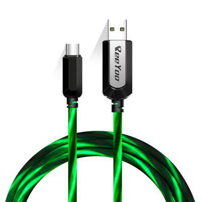 Reeyoo LED Light Tipo-C visível para USB Flowing Round Cable