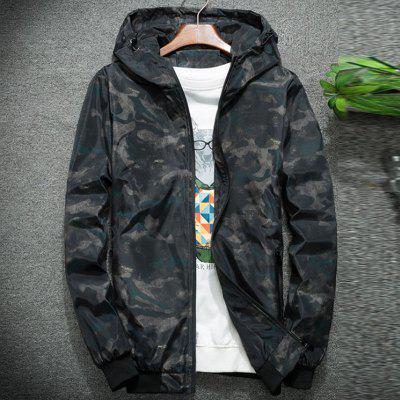 New Man Fashion Casual Camouflage Printed Full Sleeve Hooded Jacket Coat T0270