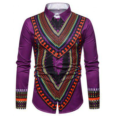 New Man Fashion Printed Spring Autumn Casual Africa Shirt  T0273