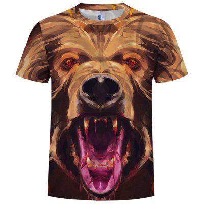 European and American Explosions Fashion 3D Printed Animal Men'S Short-Sleeved T