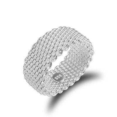 Women'S Fashion Woven Grain Tail Ring 925 Silver Plated Lovers Ring