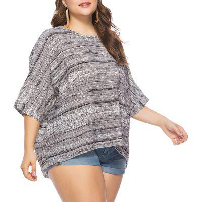 Plus Size Women'S Five-Point Sleeve Printing