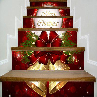 3D Christmas Festival Stairs Sticker Xmas Pendant Bells Bows Merry Christmas