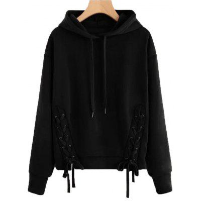 Mulheres Plus Size Solid Color Solto Casual Hoodie