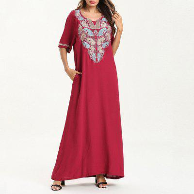 Fashion Casual Short-Sleeved Embroidered Dress Maxi Dresses