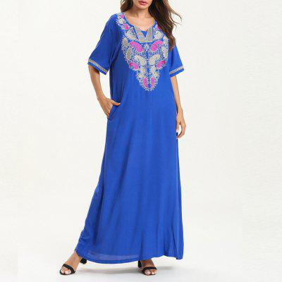 Fashion Casual Short-Sleeve Embroidered Dress Maxi Dresses