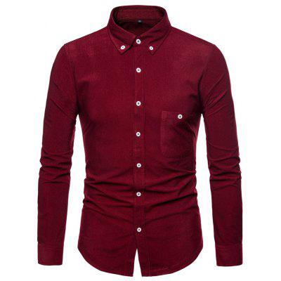 Man Shirt Long Sleeves Single Color Leisure Time Thickened Fashion