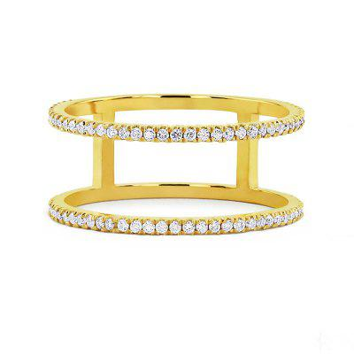 Trendy Personality Copper Plated Micro Inlaid Zircon Ring
