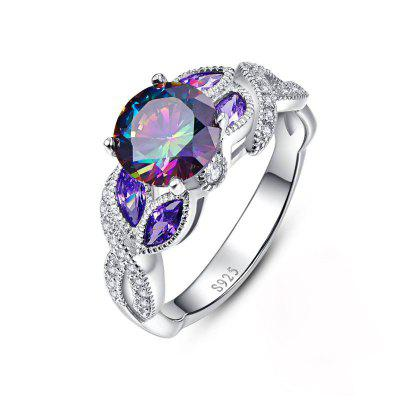 Creative Colorful Water Drop Copper Crystal Zircon Ring