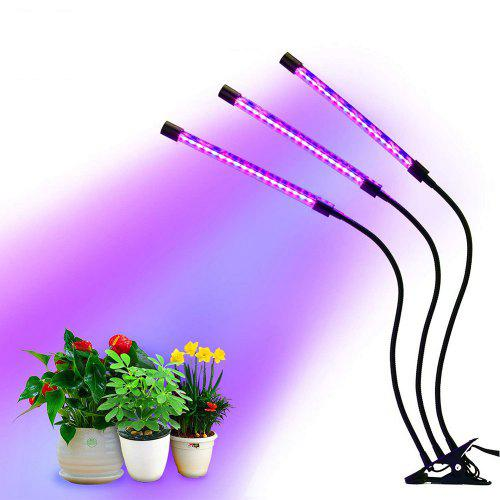 Gearbest LED Indoor Plant Growth Lamp Grow Light 3 Head Adjustable Brightness with Clip - Black