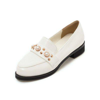 Summer Round Head Flat Set of Feet Pearl Peas Shoes Low Heel Casual Sandals