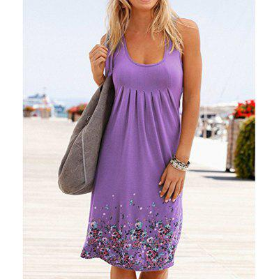 Sleeveless Floral Print Loose Dress Fashion Six Colors 2018 Sexy Dress Plus Size