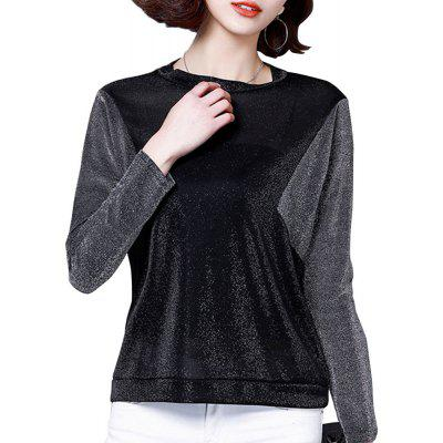 Loose Bat Sleeve T-Shirt with Round Neck