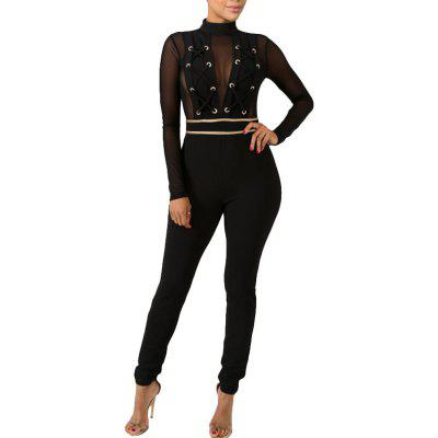 New Woman Fashion Mesh Patchwork Spring Summer Sexy Club Jumpsuits 19974