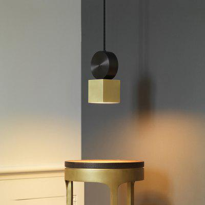 Nordic Simple Green Bronze Geometric Chandelier Nordic 220-240V for Coffee Shop