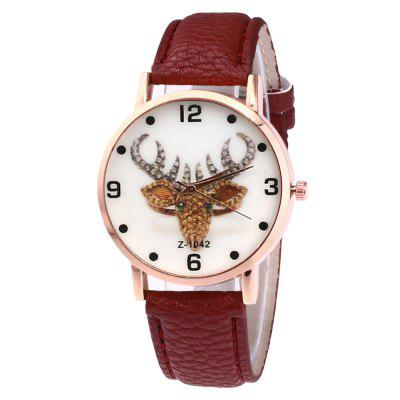 Creative Casual Deer Head Print Belt Watch