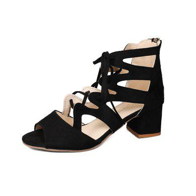 New High Heel Shoes With Middle Heel Tie And Wide Open Toe