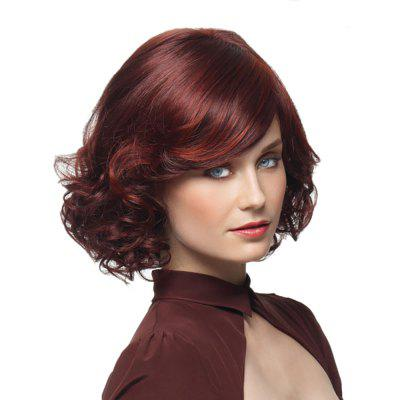 Fashion Wine Red Partial Pear Short Curly Wig