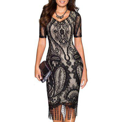 New Woman Fashion Short Sleeve V-Neck Tassel Lace Patchwork Sexy Dress 19397