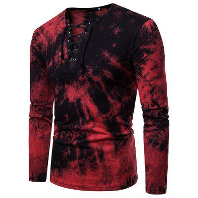 Men's Fashion V-Neck Color Rope with Long Sleeve T-Shirt