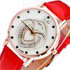 Simple Personality Heart-Shaped Pendant Print Pattern Casual Quartz Belt Watch - RED