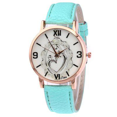 Simple Personality Heart-Shaped Printed Pattern Dial Casual Belt Watch