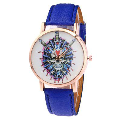 Casual Personality Skull Print Quartz Belt Watch