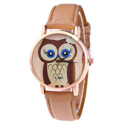 Casual Personality Owl Print Quartz Strap Watch