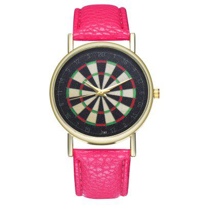 Casual Personality Dart Board Printing Pattern Quartz Belt Watch