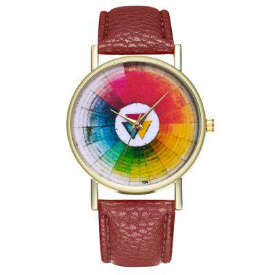 Casual Personality Colorful Wheel Printing Pattern Quartz Belt Watch