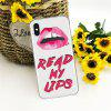 Text Red Lip TPU Wear Proof Soft Protective Case for iPhone X - MULTI