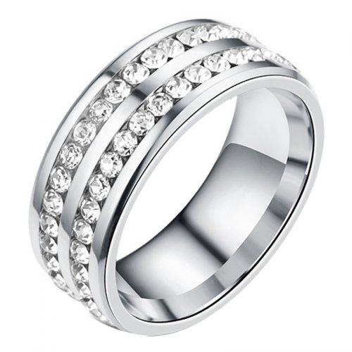 80c00cea7119 Womens Mens Fashion Double Rows Rhinestones Titanium Steel Wedding Jewelry  Ring
