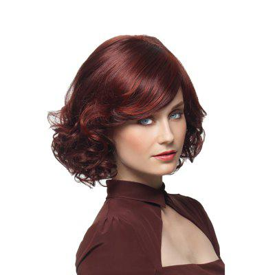 Stylish Lady Wine Red Short Curly Hair High Temperature Synthetic Wig
