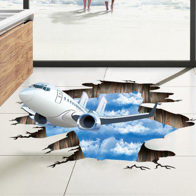 3D Blue Sky and White Clouds Break Out of The Wall PVC Removable Three-Dimension