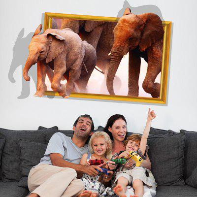 3D Background Elephant and Elephant Living Room Bedroom Decorative Wall Stickers