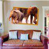 3D Background Elephant and Elephant Living Room Bedroom Decorative Wall Stickers - MULTI