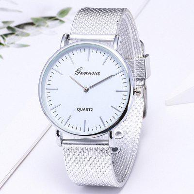 Golden Mesh Belt Fashion Leisure Men and Women Quartz Watch