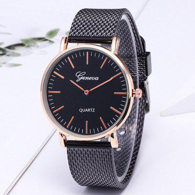 Golden Mesh Belt Fashion Leisure heren en dames quartz horloge