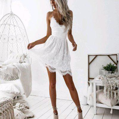 Women'S Solid Lace Sling Dress