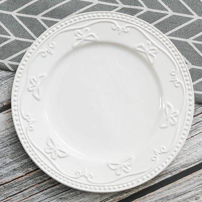 Ceramic Embossed Plate European and American Steak Plate Cake Tray 8 Inches
