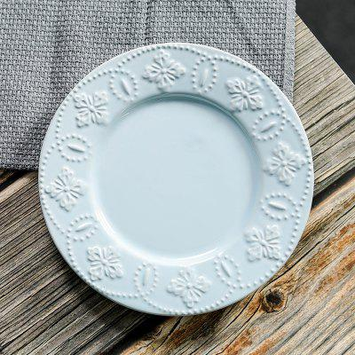 Ceramic Embossed Plate European and American Household Tray Dessert Plate 8 Inch