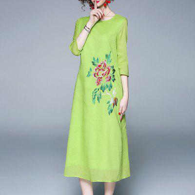 Women'S Spring and Summer New Round Collar Embroidery Long Dress