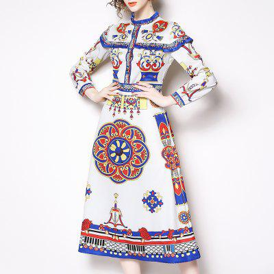 New Wooden Ear Collar Long Sleeve Printing Fashion Trim Mid-Length Dress