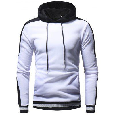 Thread Cuff Color Matching Casual Slim Solid Color Hooded Pullover Sweater