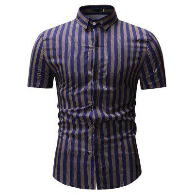 New Man Fashion Strip manga curta camisa de verão k900