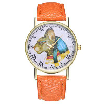 Casual Personality Simple Cat Head Print Illustration Dial Quartz Belt Watch